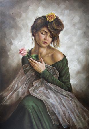 Olio su tela di una giovane donna con un fiore tra i capelli e abito verde Archivio Fotografico - 36202753