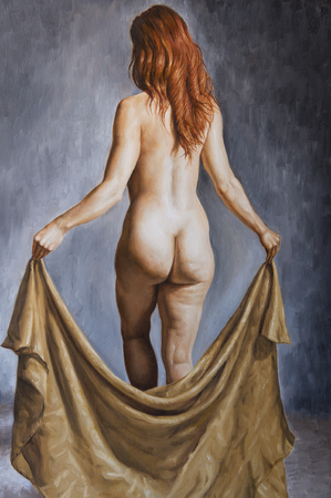 shot from behind: oil portrait of a woman shot from behind Stock Photo