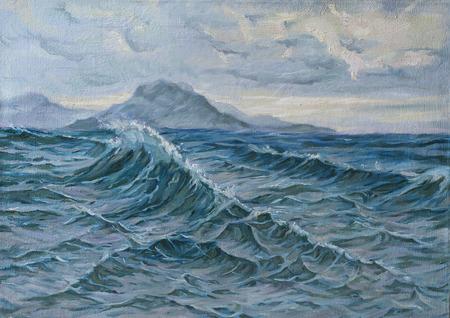 Pittura ad olio di un paesaggio marino Archivio Fotografico - 39203252