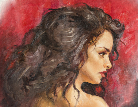 painter girl: oil painting on canvas of a young woman