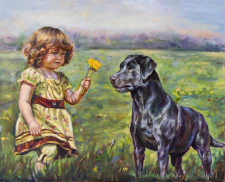 Pittura ad olio su tela di una ragazza con il suo piccolo fiore e cane Archivio Fotografico - 44353724