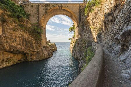 beach panorama: landscape of the divine Amalfi coast in Italy Stock Photo