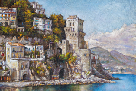 painting with oil paints of a coastal landscape