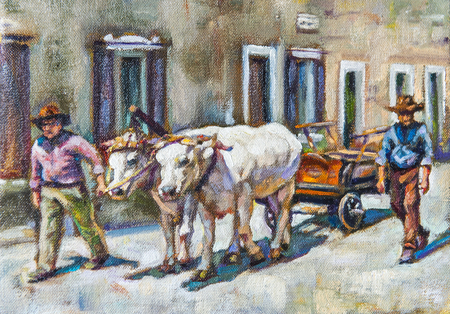 oxen: oil on canvas of men accompanying a cart pulled by oxen Stock Photo