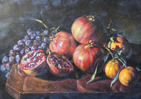 fruit composition painted with oil paint