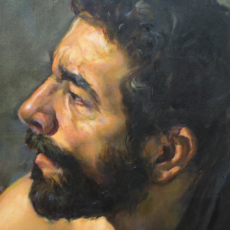 young man with oil painting beard