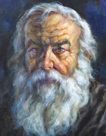 oil on canvas of old man with white beard and hair
