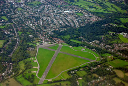 An aerial view of the former RAF base Kenley Aerodrome in Surrey, UK
