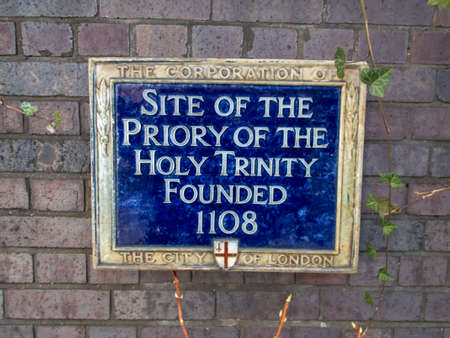 A sign in the City of London marking the former site of an old religious building