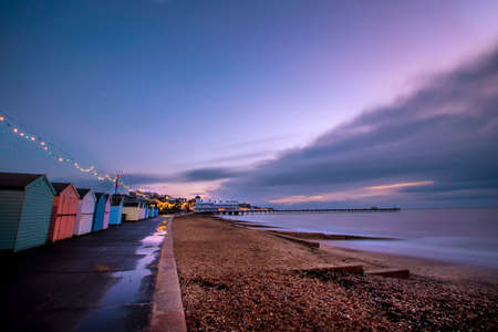 Dawn breaking over the North Sea at Felixstowe, Suffolk, UK