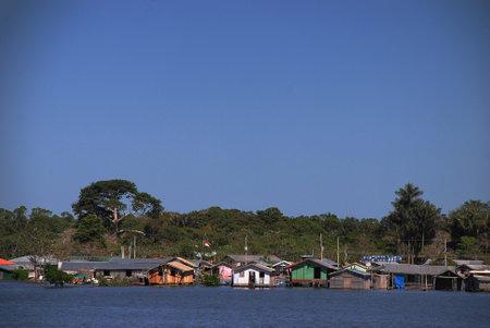 Wooden houses along the River Amazon near Manaus, Brazil Publikacyjne