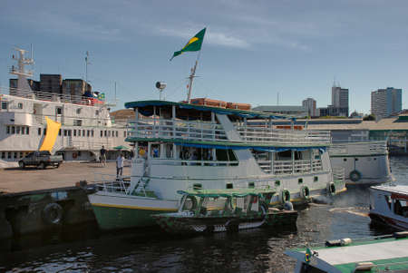 Amazon river boats docked at the Port of Manaus on the Rio Negro, Brazil