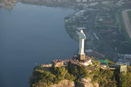 An aerial view of Christ the Redeemer overlooking Rio de Janeiro Stock Photo