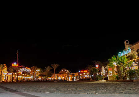 The resort of El Gouna in Egypt at night Redakční