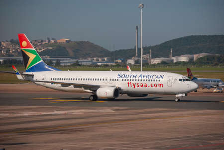 South African Airways aircraft at King Shaka International Airport in Durban, South Africa Editorial