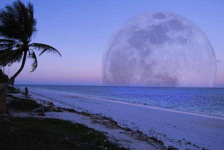 A full moon over the tropical island of Zanzibar off the east coast of Africa