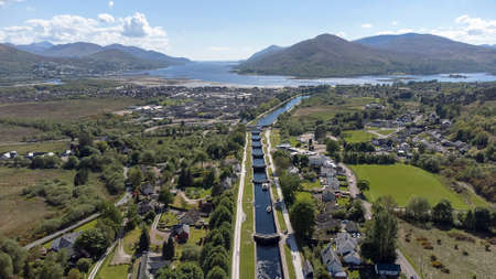 An aerial view of Neptune's Staircase in Fort William, Scottish Highlands, UK