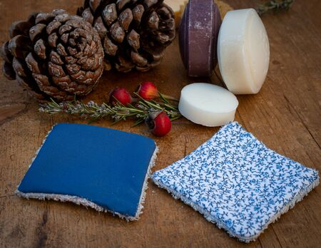 Handsewn, reusable, washable wipes or cosmetic pads for facial cleansing .with hand made soaps. concept zero waste recycle ,reuse ,