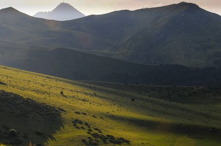 Landscape ,Peaks in the French Pyrenees ,beautiful evening spring summer  light. calm  scenic.