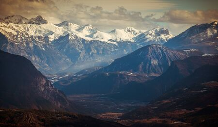 Beautiful View of the French Alps In snow. Nr Gap.France.view of valley & peaks.