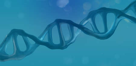 DNA strand illustration, futurist fantasy background, blue. Standard-Bild