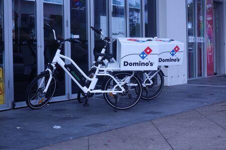 Coolongatta, Queensland, Australia, January 20 2020:Dominos Pizza hybrid bikes Australia