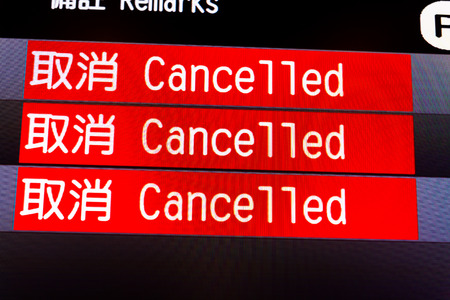 flight information board with canceled flights(English ,Chinese)