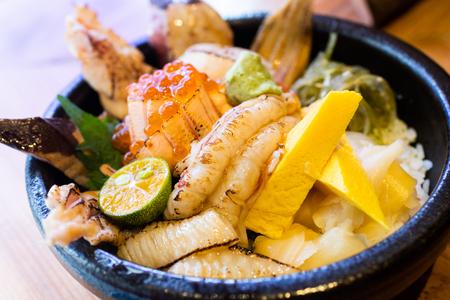 sashimi raw fish seafood rice bowl - sashimi on rice, donburi, japanese food