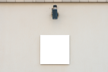 Large blank billboard on a street wall, banners with room to add your own text Imagens