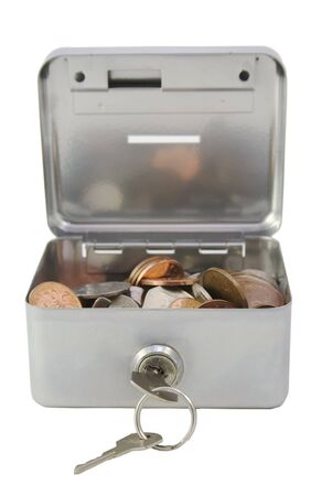 money box: A silver money box open, showing British coins inside