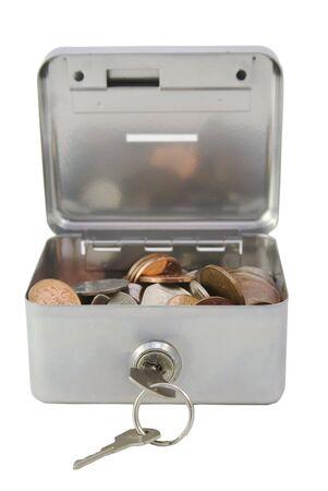 pounds money: Una caja de plata dinero abierto, mostrando las monedas dentro de British