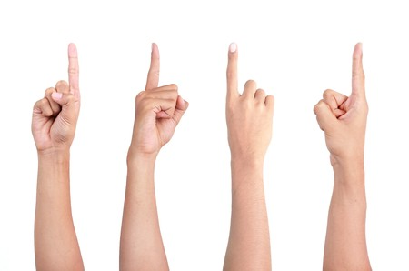 a set of gesture of hand pointing in four different angle photo