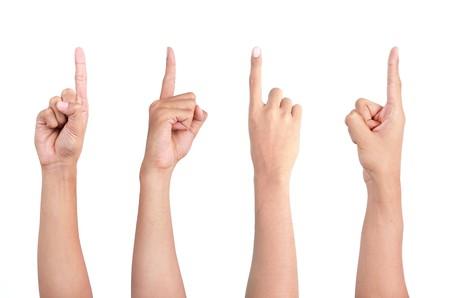 eine Reihe von Gesten der Hand, die in vier verschiedenen Winkel zeigt