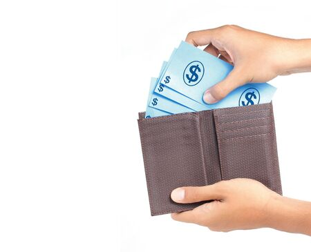 mans hand taking money from wallet photo