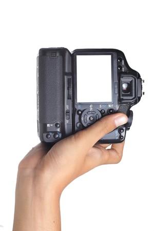 hand holding digital camera verticaly photo
