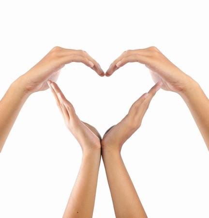 Erstellen Sie eine Form der Liebe profilstahl durch Hände  Standard-Bild