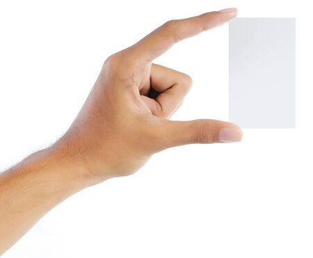 gesture of hand giving or showing a card Stock Photo - 7804618