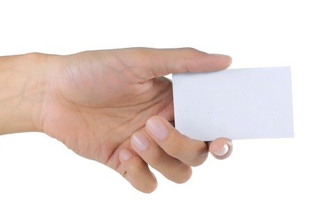 gesture of hand giving or showing a card Stock Photo - 7804625