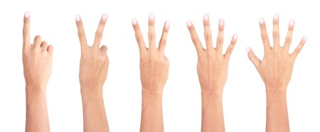 gesture of hands counting from one to five photo