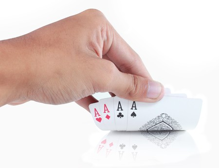 hand open card, four aces