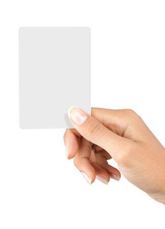gesture of a beautiful woman's hand showing a white card Stock Photo - 7899476