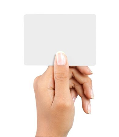 gesture of a beautiful woman's hand showing a white card Stock Photo - 7899475