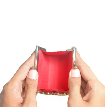 gesture of hand open the red empty wallet photo
