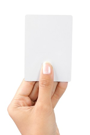 gesture of a beautiful woman's hand showing a white card Stock Photo - 7899474