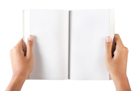holding close: gesture of hand open the blank book Stock Photo