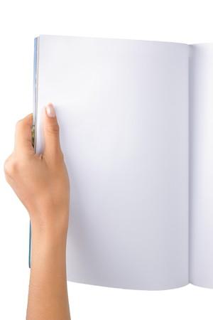 Gesten der Hand öffnen die leere magazine halbe Seite