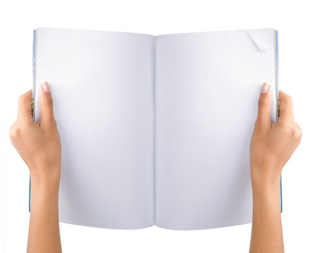 gesture of hand open the blank magazine Stock Photo - 8143713