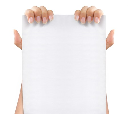 gesture of hand holding a blank white paper with both hands Stock Photo - 8143717