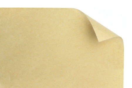brown paper with corner curl over white Stock Photo - 8153735