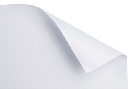 White paper with corner curl over white photo